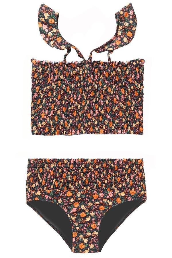 3405988ad3 Ganni Ipanema Shirred Floral-Print Bikini In Black   ModeSens
