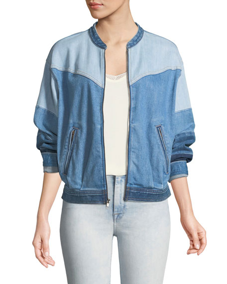 7 For All Mankind Zip-Front Patchwork Denim Bomber Jacket In Blue