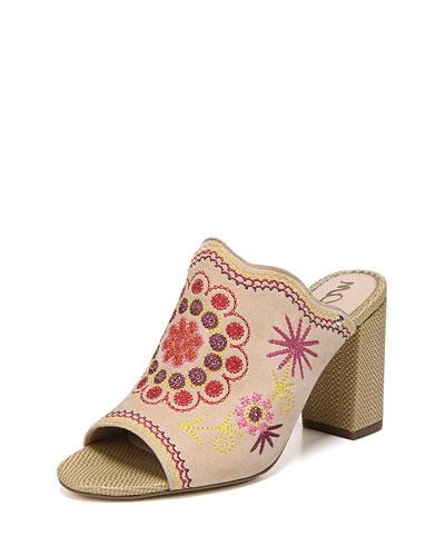 Sam Edelman Olive Embroidered Chunky-Heel Slide Sandal In Natural Nakedyell