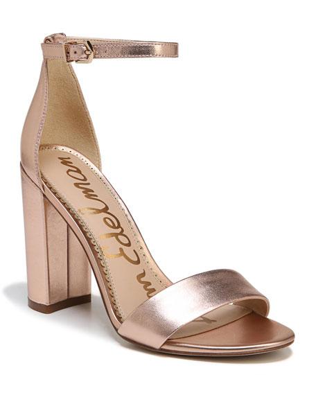 d8677b3692b Sam Edelman Yaro Metallic Block-Heel Sandal In Blush Gold