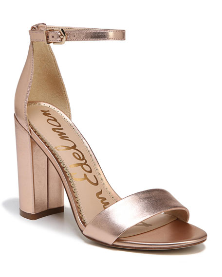 Sam Edelman Yaro Metallic Block-Heel Sandal In Blush Gold