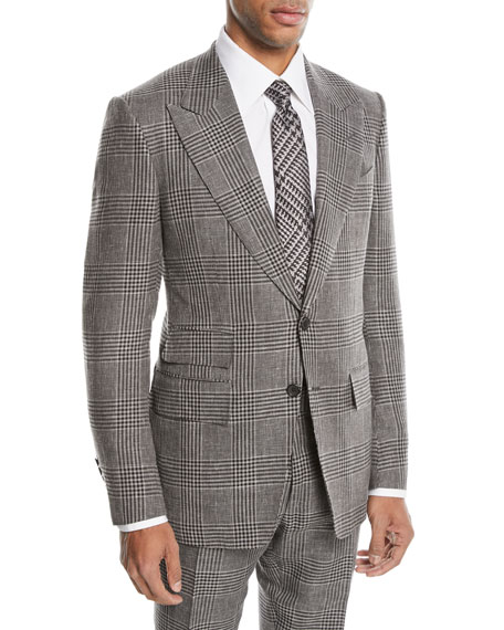 Tom Ford Shelton Large-Plaid Wool-Blend Two-Piece Suit In Gray