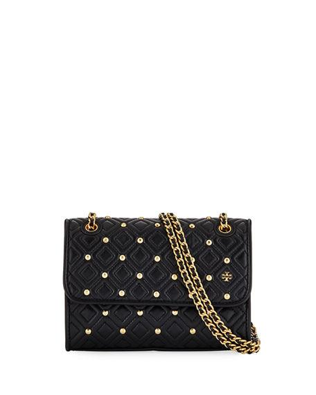 7e61030acc80a Tory Burch Small Fleming Stud Convertible Leather Shoulder Bag - Black