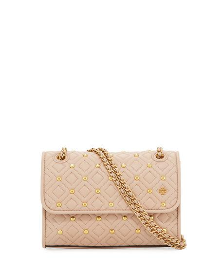 d02bfda4780 Tory Burch Small Fleming Stud Convertible Leather Shoulder Bag - Beige In  Sand