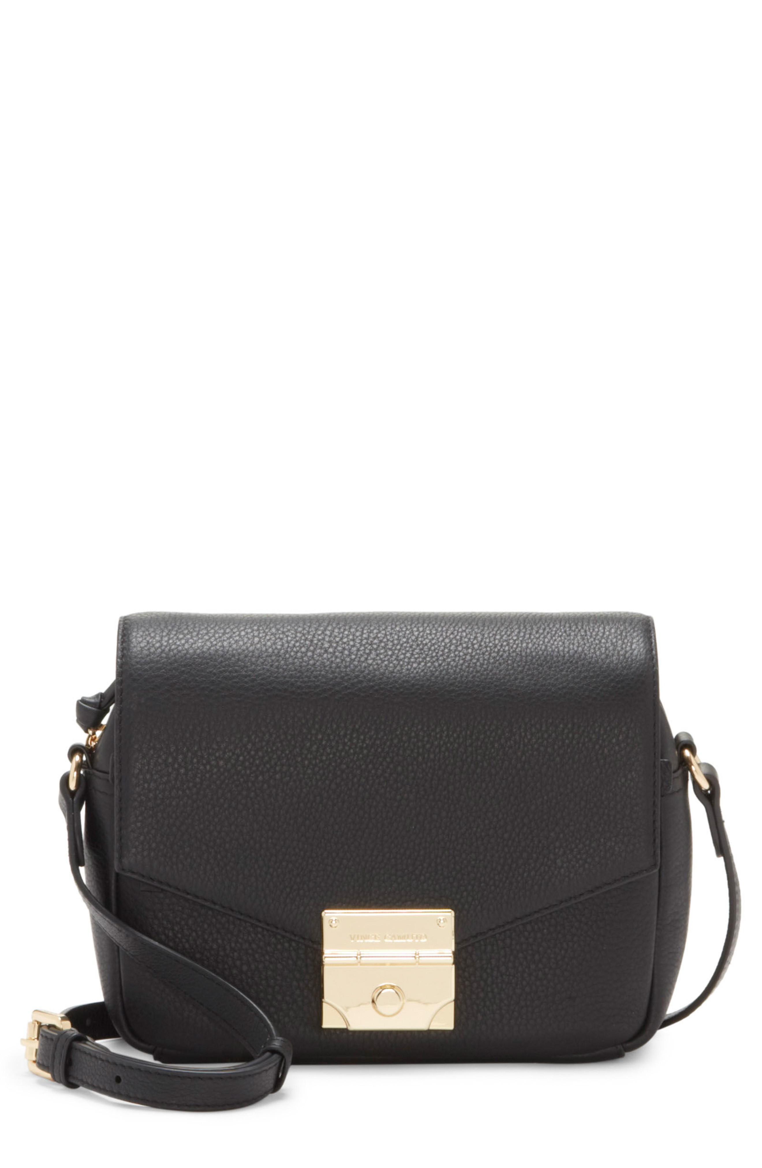 5cfb85a814 Vince Camuto Stina Leather Crossbody Bag - Black