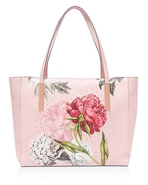 Ted Baker Peonina Palace Gardens Large Leather Tote In Dusky Pink