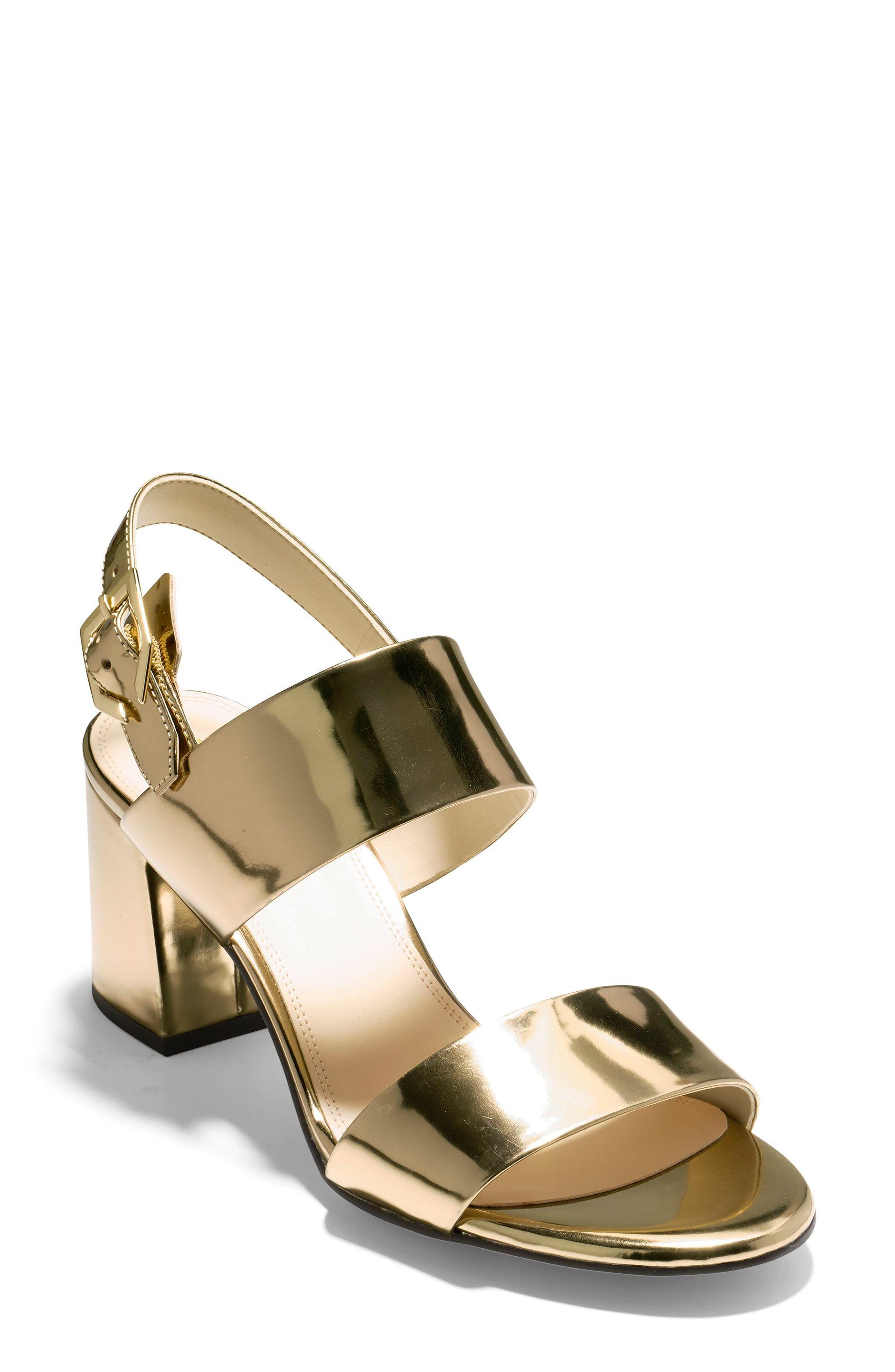 c9277373bc0 Cole Haan Avani Block Heel Sandal In Gold Leather