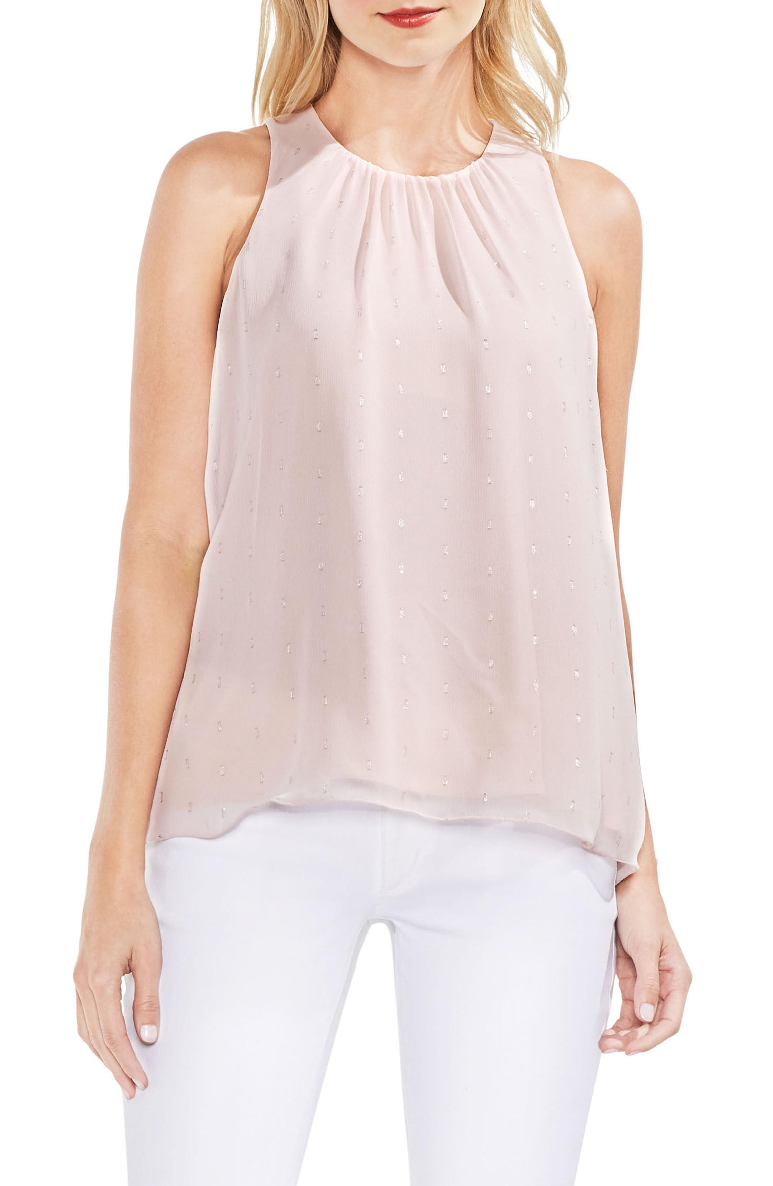 Vince Camuto Sleeveless Metallic Clip Dot Top In Pink Mist