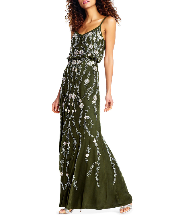 a876cf9a155 Adrianna Papell Floral Beaded Blouson A-Line Evening Gown In Olive ...
