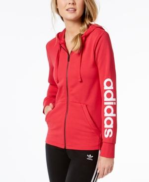 Adidas Originals Adidas Essentials Linear Hoodie In Real Coral / White
