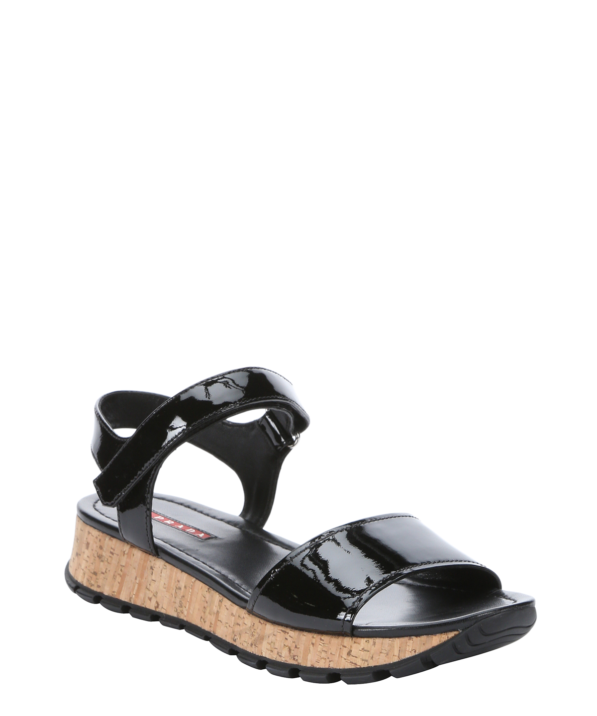 Black Patentamp; Cork In Sandal' Double Band Wedge SzMUVp