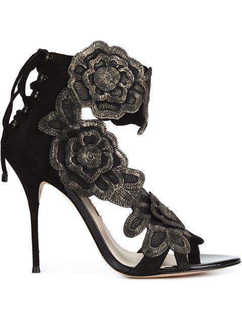 Sophia Webster Winona Floral Lace-Back 100Mm Sandal, Black/Gold, Black & Gold