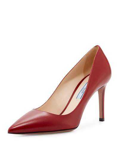 Prada Leather Pointed-Toe 85Mm Pump, Red (Cotto), Cotto/Red