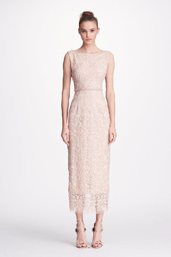 70e0146f679 Marchesa Notte Metallic Embroidered Cocktail Dress W  Pearly Beads In Blush