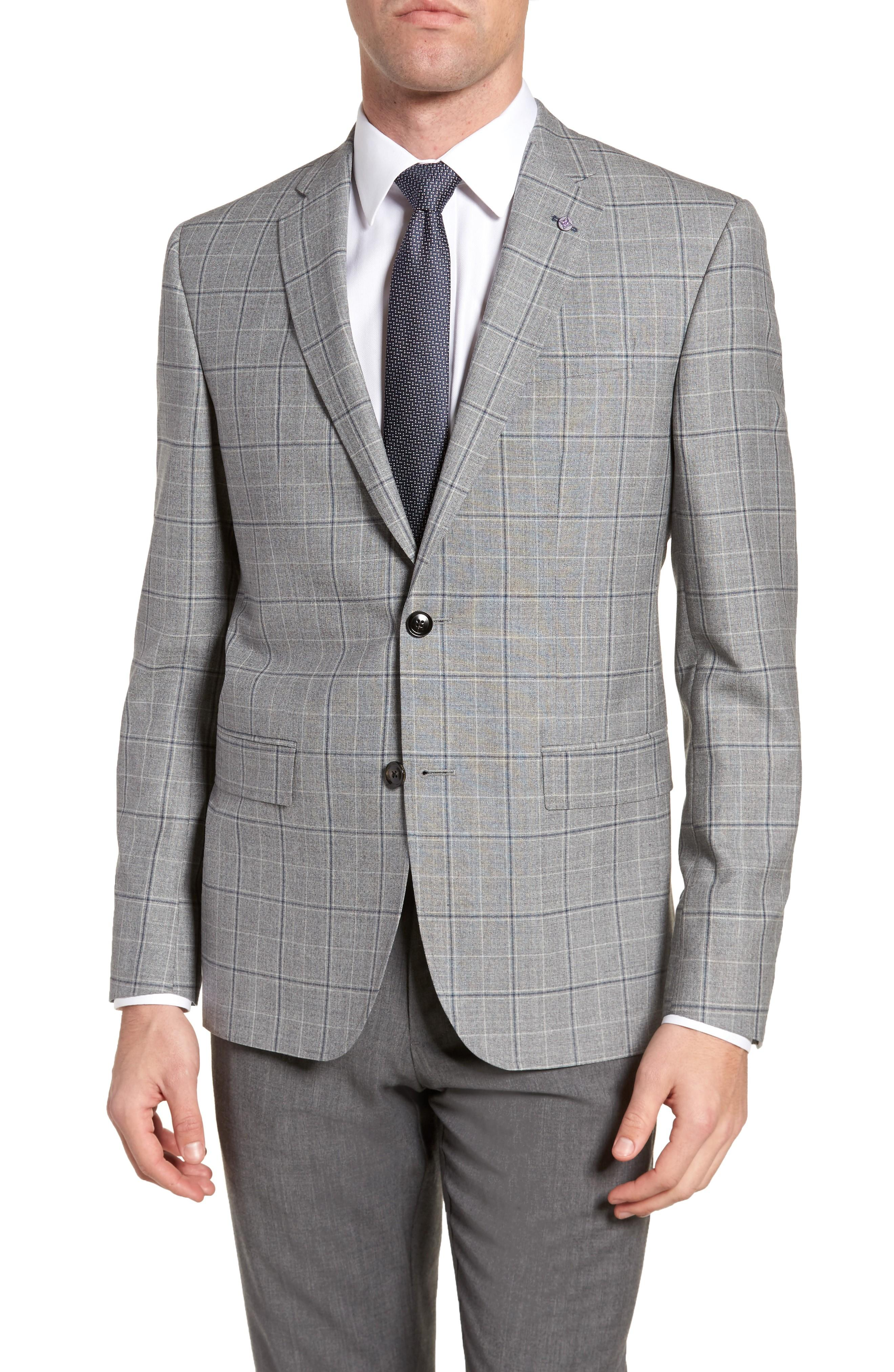 bd8f13bbbd9d8e Ted Baker Jay Trim Fit Plaid Wool Sport Coat In Light Grey