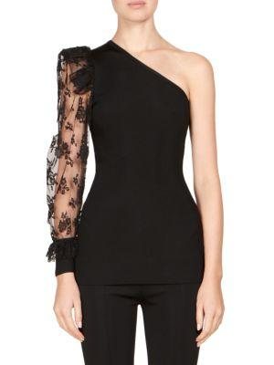 Givenchy Black One-shoulder Jersey And Lace Top