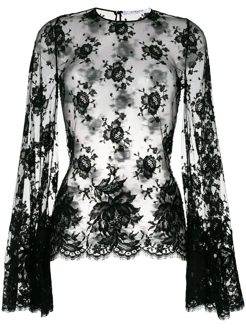 75654319230 Givenchy Sheer Lace Bell-Sleeve Blouse In Black | ModeSens