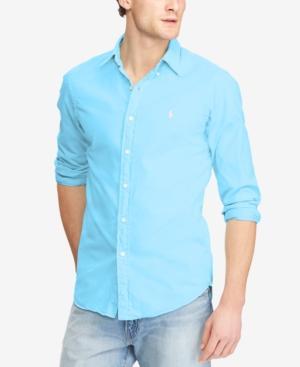 eee25220de24 Polo Ralph Lauren Men s Classic Fit Garment Dyed Chino Shirt In Hammond Blue
