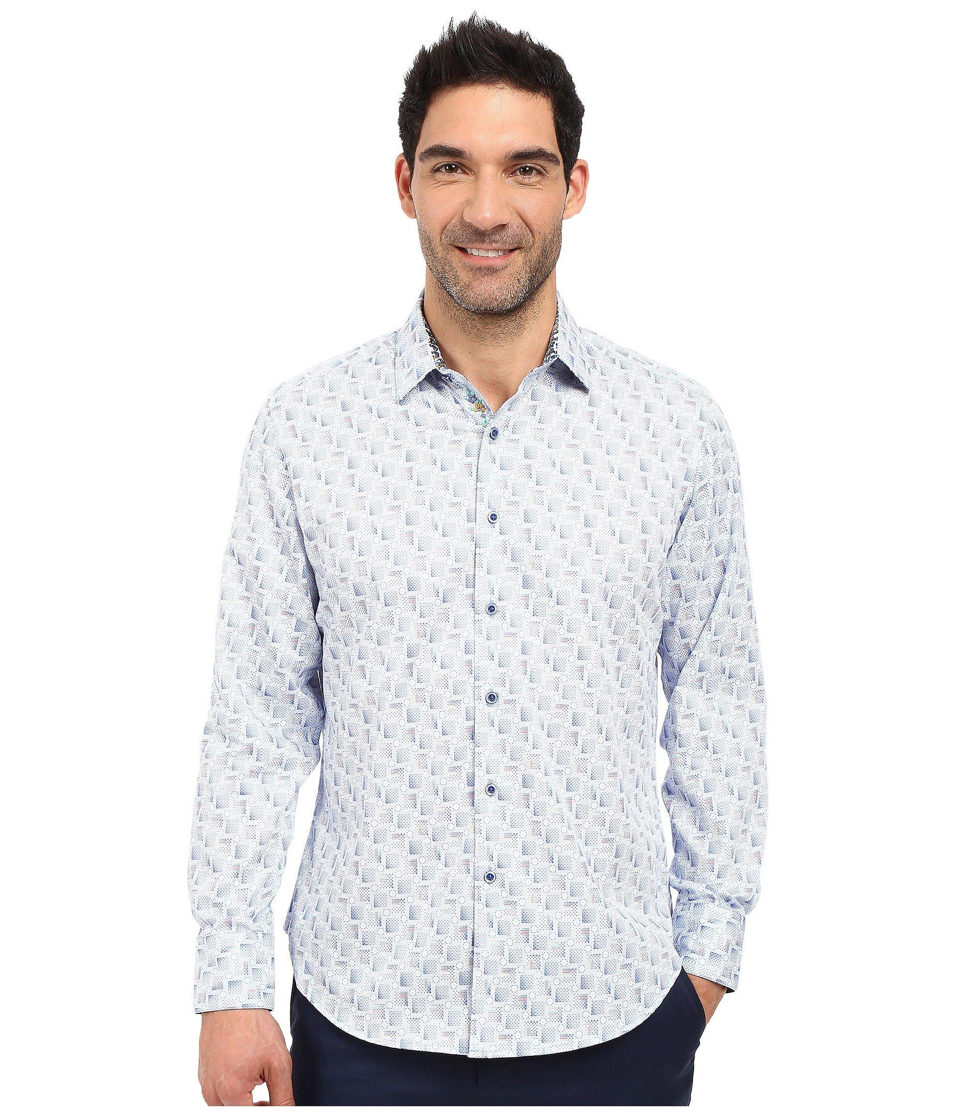 Robert Graham Suez Canal Long Sleeve Woven Shirt In Blue