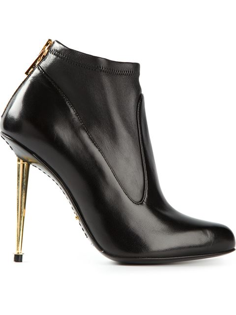 807f88bd7f Tom Ford Black Stretch Leather Metal Stiletto Ankle Boots | ModeSens