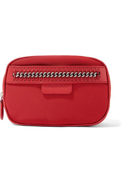 Stella Mccartney The Falabella Chain And Faux Leather-Trimmed Shell Cosmetics Case In Red