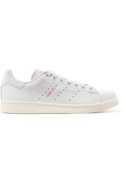 promo code a6726 f8344 ADIDAS ORIGINALS. Stan Smith Snake Effect-Trimmed Leather Sneakers