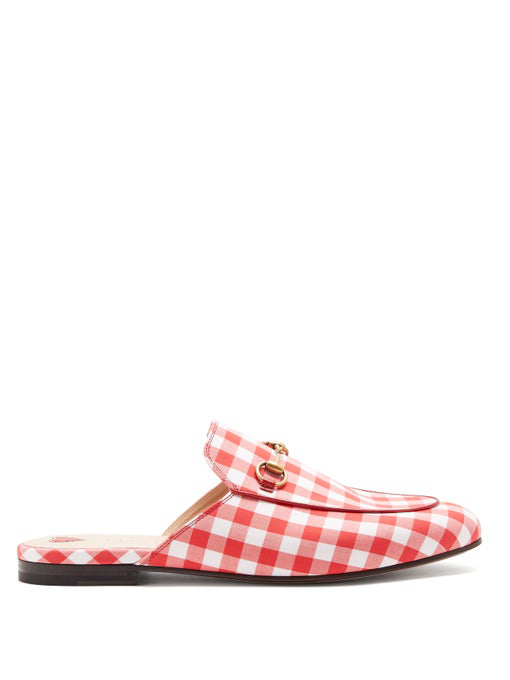 Gucci Princetown Check Fabric Slipper In Red