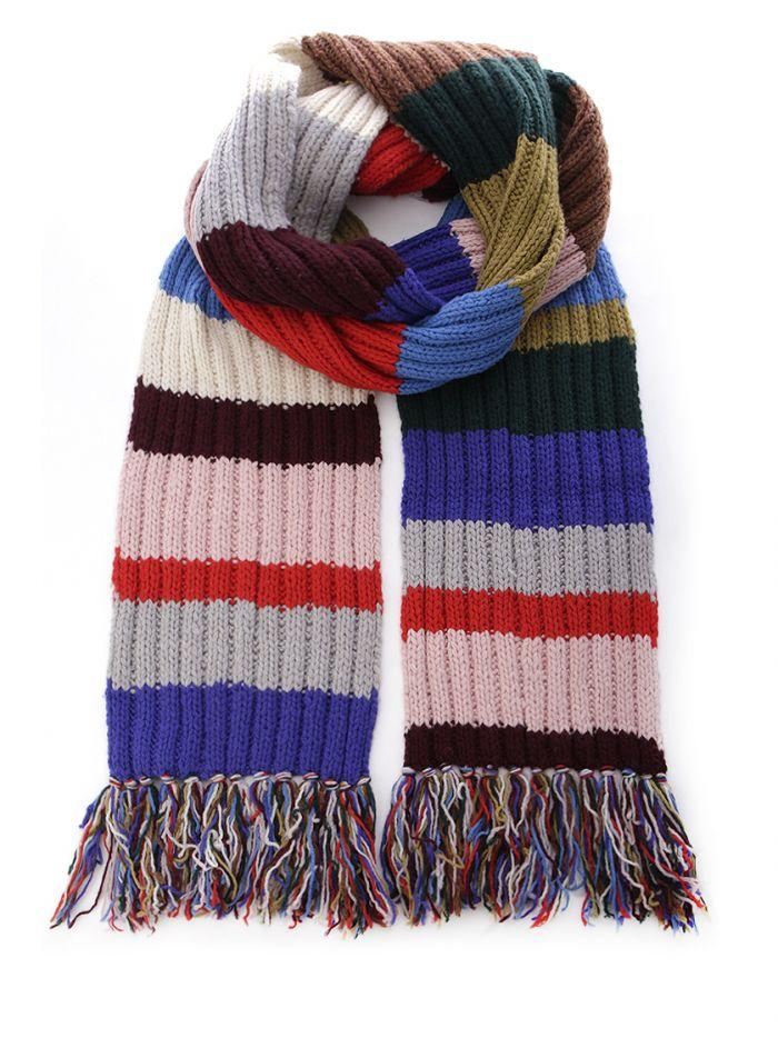 Burberry Striped Knit Wool Scarf In Multicolor Modesens