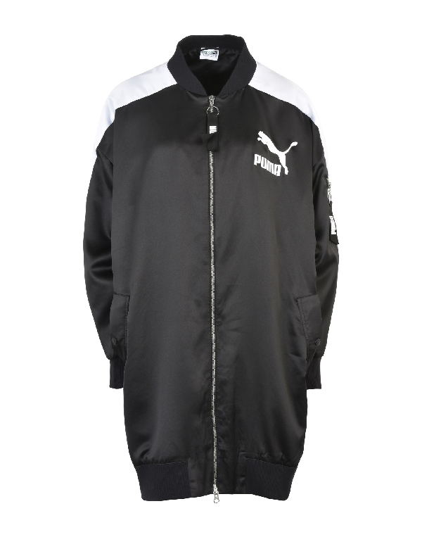 Puma Oversize Archive T7 Nylon Bomber Jacket In Black
