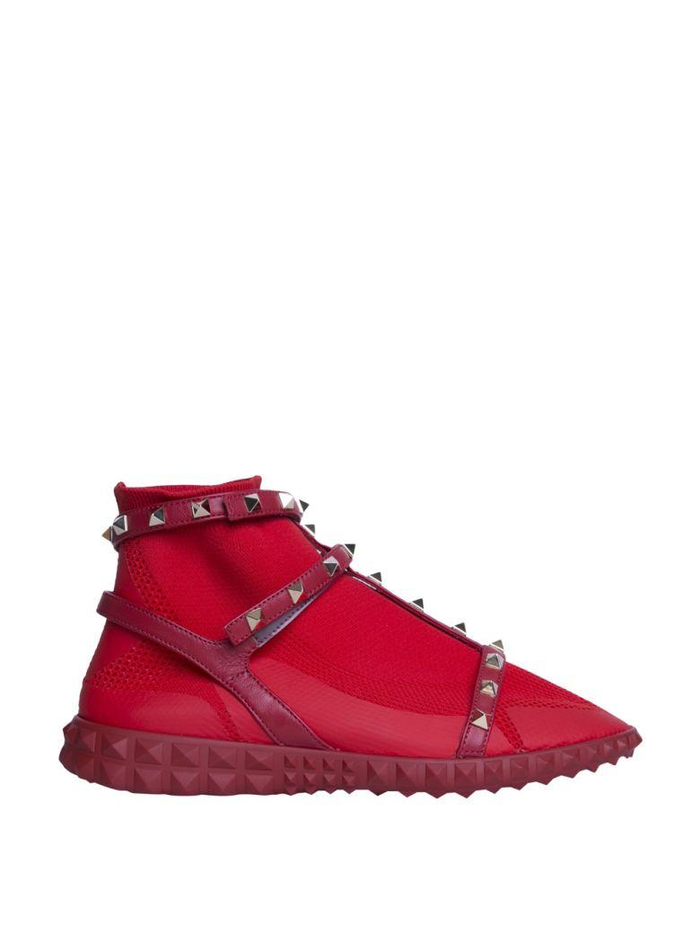 Valentino Stretch Knit Rockstud High-Top Sneakers In 0Ro Red