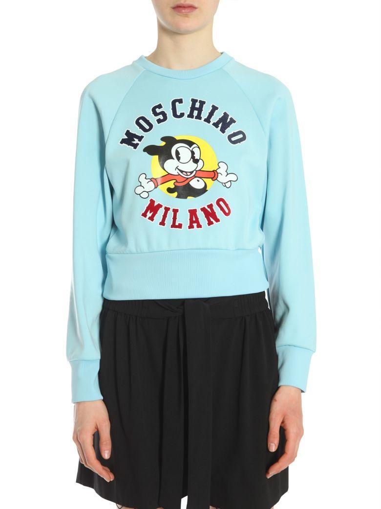 Moschino Round Collar Sweatshirt In Azzurro