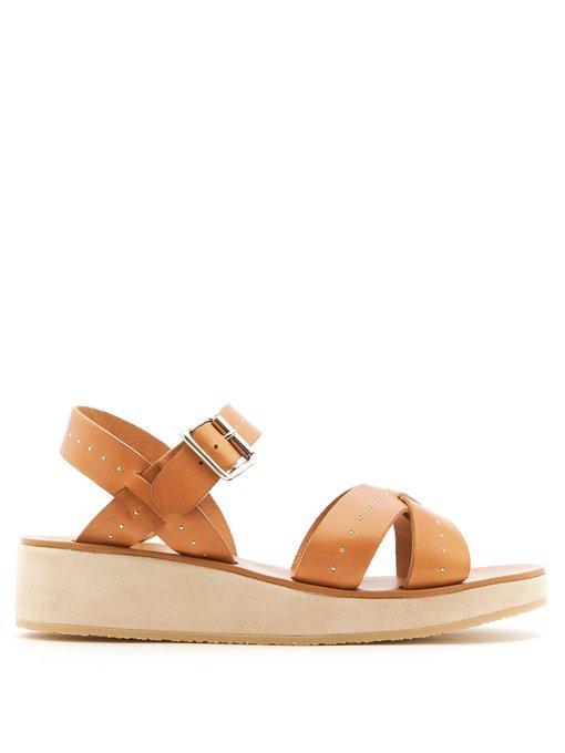 4120ae04327 A.P.C. Odette Stud-Embellished Leather Flatform Sandals In Dark Tan ...