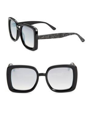 Jimmy Choo 54mm Cait Square Sunglasses In Nude Glitter