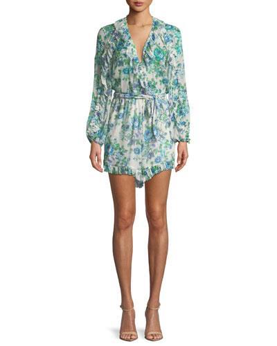 edfe514c0c7 Zimmermann Breeze Ruffle Floral-Print Silk Playsuit In Blue Pattern ...