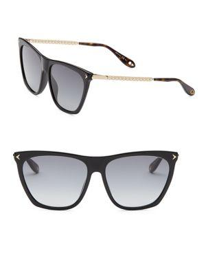 857eb2b89d Givenchy Square Acetate   Metal Gradient Sunglasses In Black