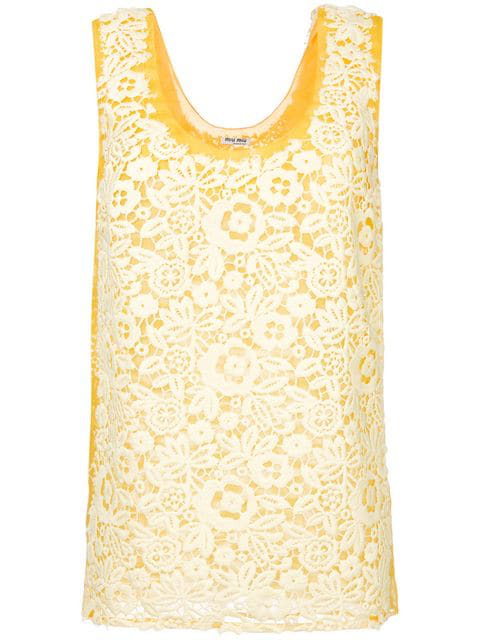 Miu Miu Top In Lace Macrame Color Vanilla In Yellow