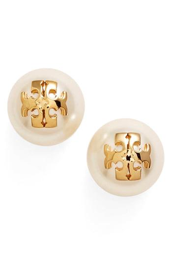 34b03d02a2c Tory Burch Swarovski Crystal Pearl Logo Stud Earrings In Ivory/ Tory Gold