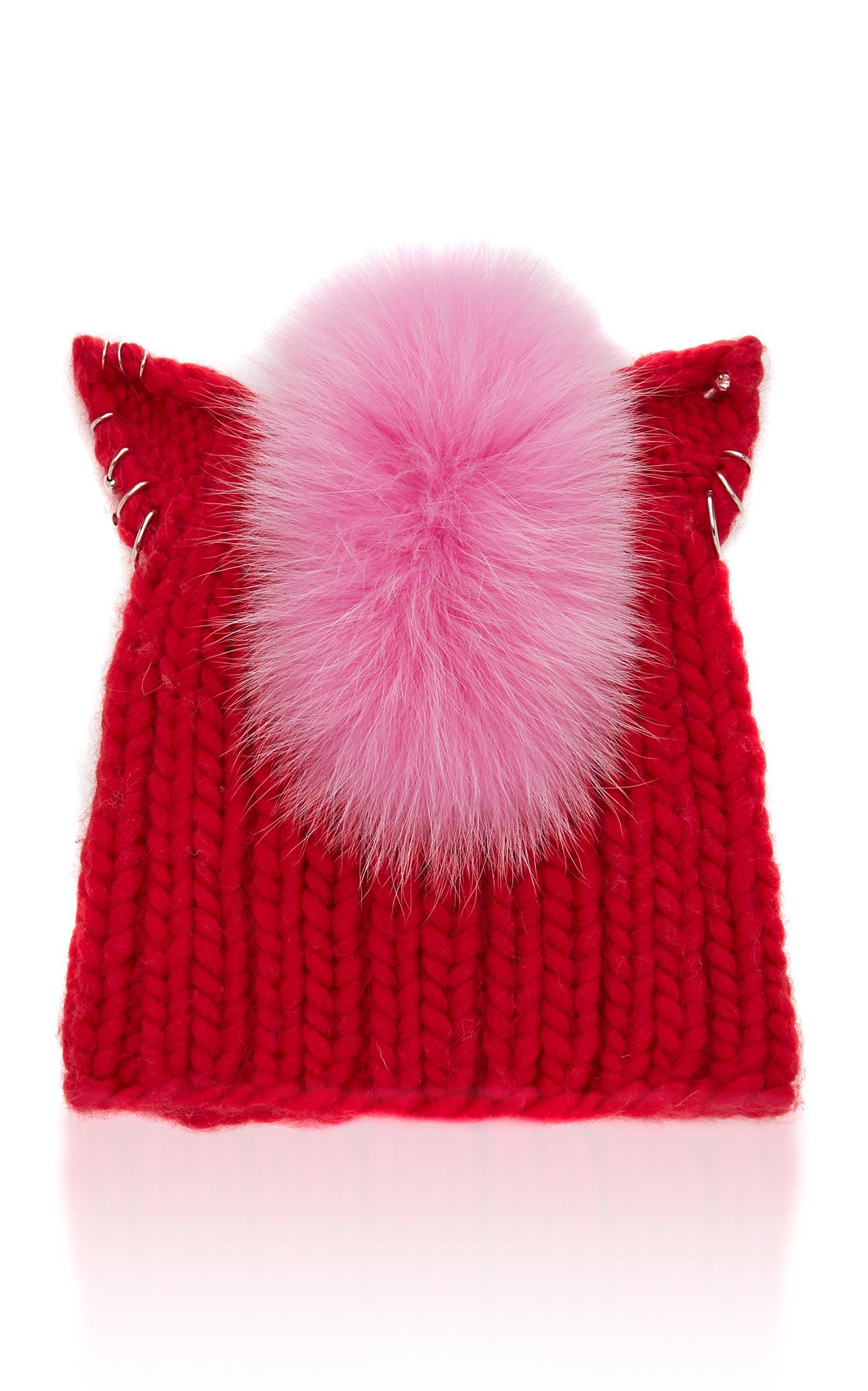 Eugenia Kim Felix Fox Fur-Trimmed Cable-Knit Beanie In Red  fcb441dd73b7