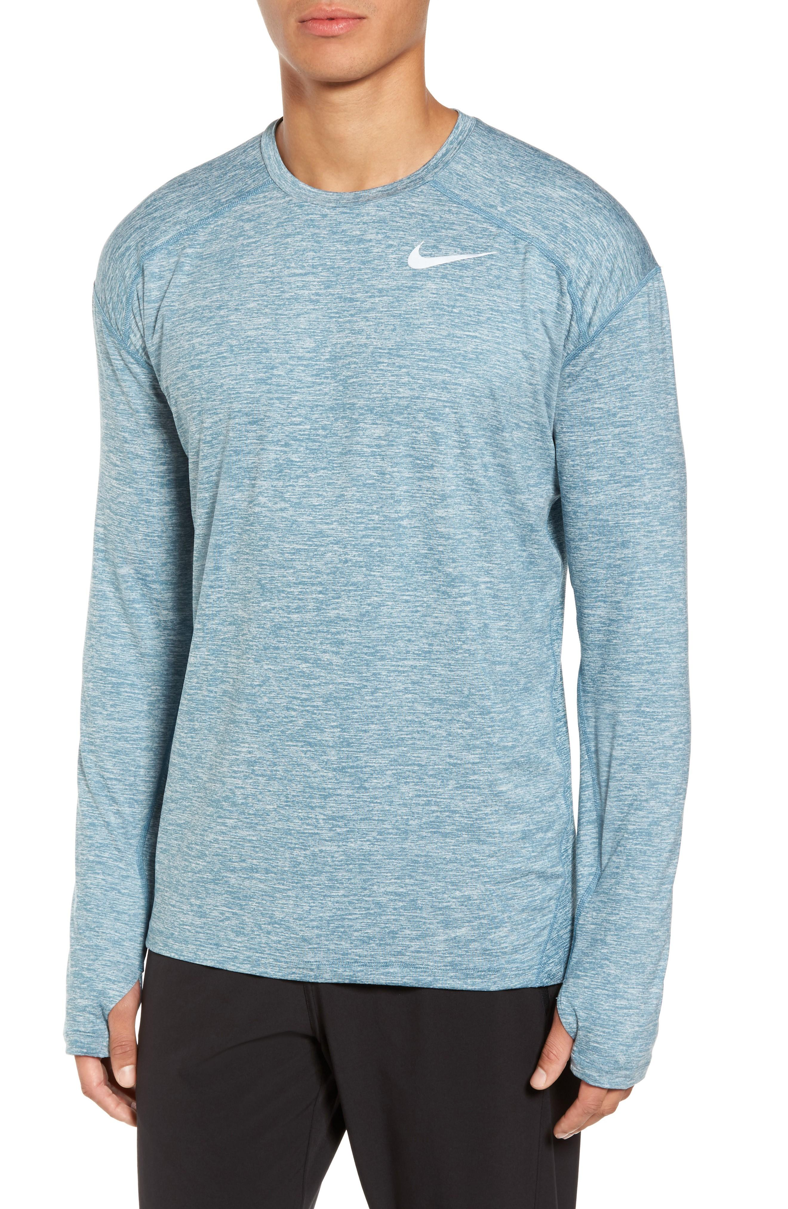 086f87c8a Nike Running Dry Element Long Sleeve T-Shirt In Obsidian/ Blue Force/  Heather