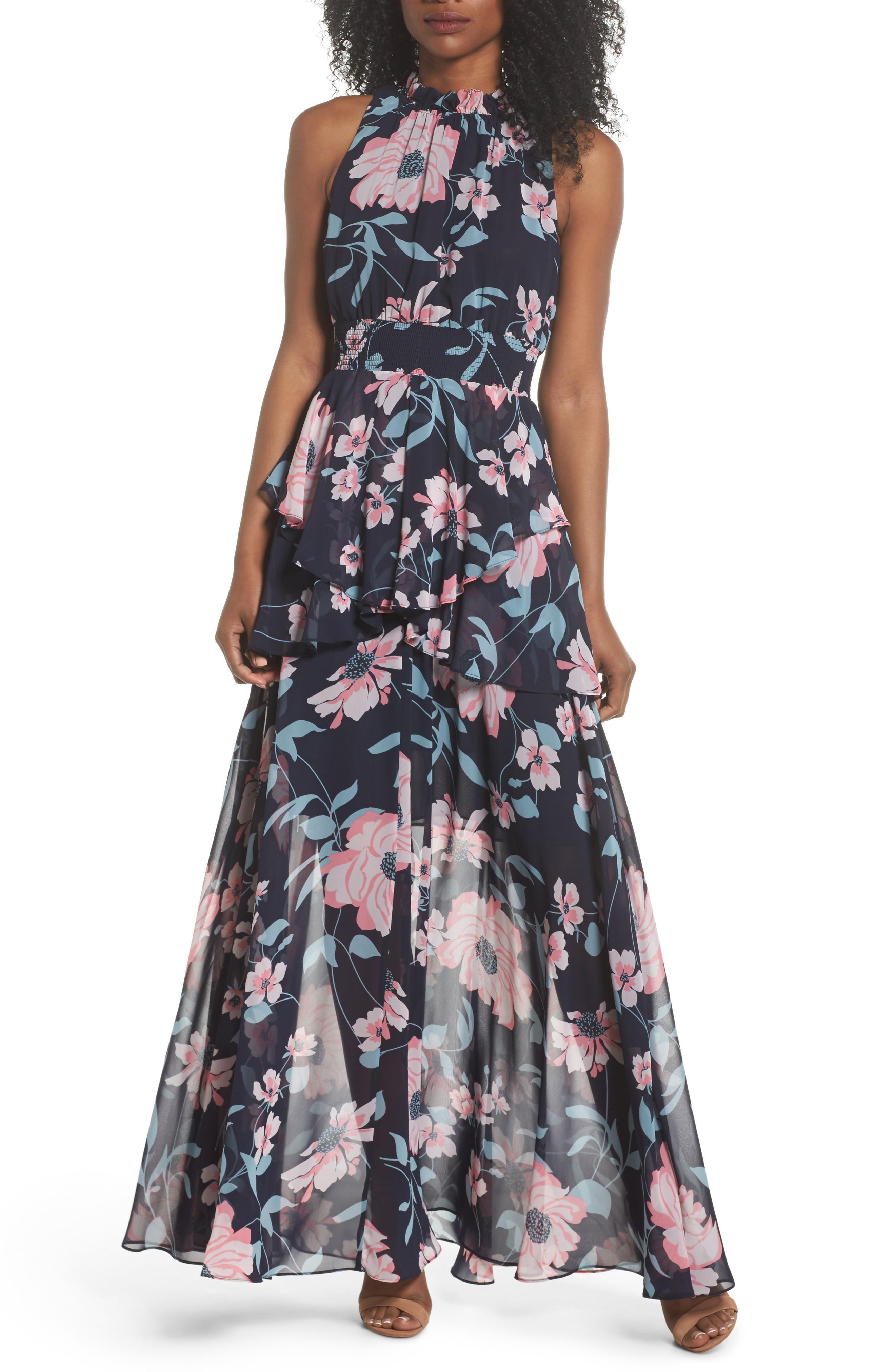 f2bb445cde Eliza J Floral Maxi Dress In Navy | ModeSens