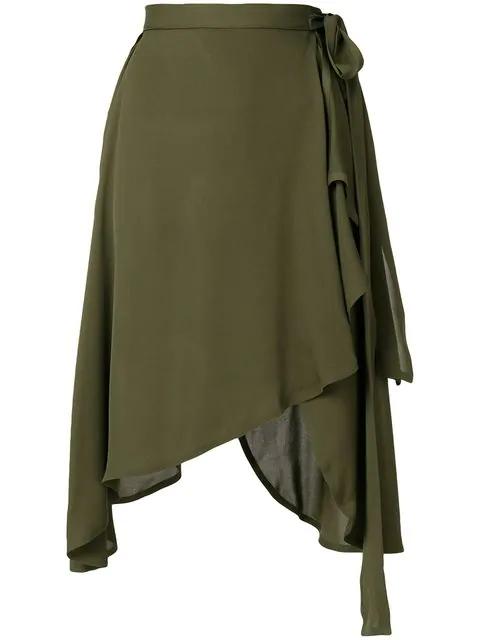 Jw Anderson Silk Georgette Asymmetric Skirt In Khaki