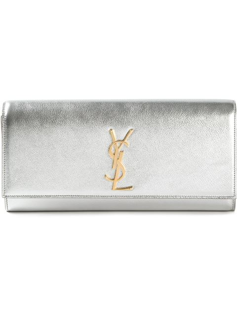 Saint Laurent Classic Monogram Metallic Leather Clutch In Silver
