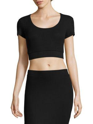 Atm Anthony Thomas Melillo Ribbed Crop Top In Black