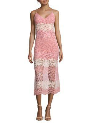 Abs By Allen Schwartz Lace Midi Slip Dress In Multi