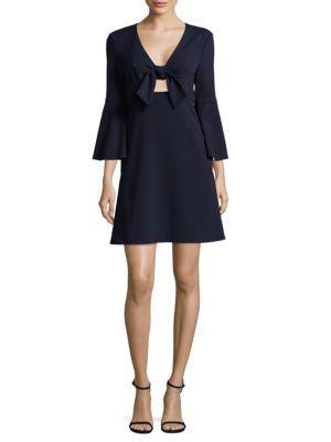 Abs By Allen Schwartz Tie-Front Dress In Navy