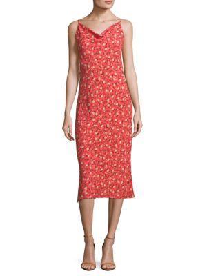 Abs By Allen Schwartz Floral Print Slip Dress In Coral