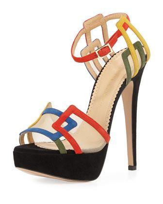 Charlotte Olympia Geometric Platforms Multicolor Suede Sandal In Multi Colors