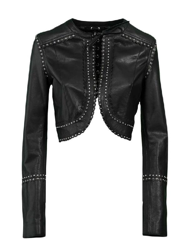 Diesel Black Gold Cropped Leather Jacket In Nero