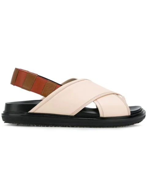 Marni Leather Slingback Sandals In Neutrals