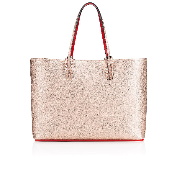 f6b3b25fd090 Christian Louboutin Cabata Spiked Metallic Textured-Leather Tote In Rose  Gold